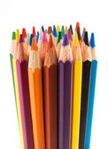 A lot of color pencils on the white — Stock Photo