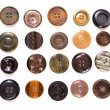 Stock Photo: Collection of various sewing button on white background