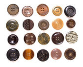 Collection of various sewing button on white background — Stock Photo