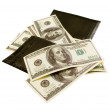 Black purse with lots of notes of 100 dollars — Stock Photo #4817664