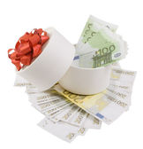 White round box full of banknotes for one and two hundred euros — Stock Photo