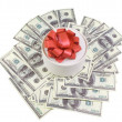 Royalty-Free Stock Photo: Round box with banknotes for one hundred dollars