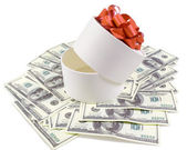 White round box with banknotes for one hundred dollars — Stock Photo