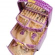 Stock Photo: Lilac box with golden jewelry