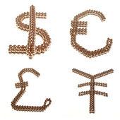 Symbolen van de vier grote wereld valuta 's — Stockfoto