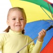 Cute child with colorful umbrella — Stock Photo
