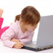 Little girl with laptop — Stock Photo #4608934