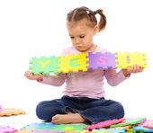 "Sad little girl put together ""Yes"" — Stock Photo"