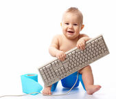 Little child with keyboard — Stock Photo