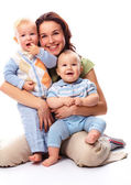 Mother with her two boys — Stock Photo