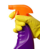 Hand holds sprayer with chemical cleaner — Stock Photo