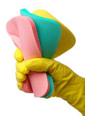 Few washing sponges in hand — Stock Photo