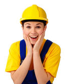 Construction girl holding her face in astonishment — Stock Photo