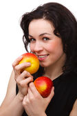 Young attractive woman with two red apple — Stock Photo