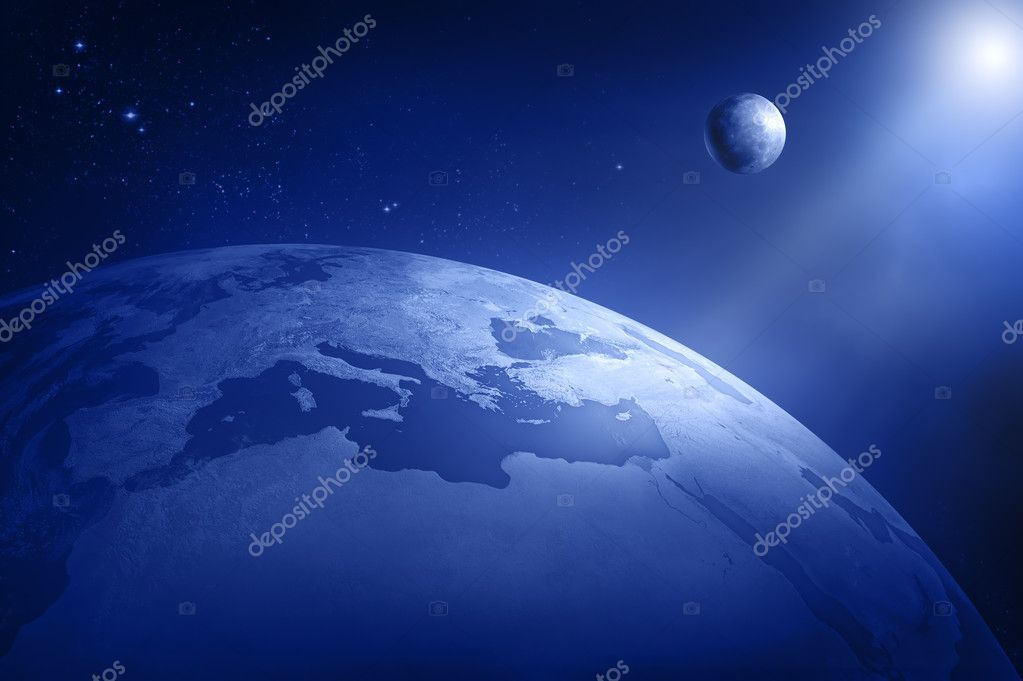 Earth and moon in deep space - Africa and Europe (3D uv maps from http://visibleearth.nasa.gov) — Stock Photo #4958953