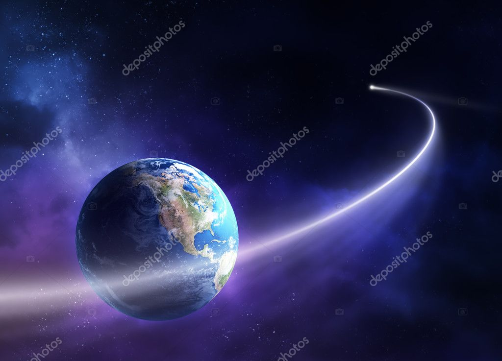 Comet passing in front of planet earth (3D uv map from http://visibleearth.nasa.gov) — Stock Photo #4958968