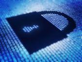 Binären code und sperre form auf pixellated bildschirm — Stockfoto
