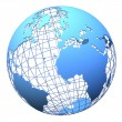 Planet earth wireframe design isolated - Stock Photo