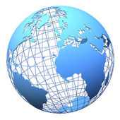 Planet earth wireframe design isolated — Stock Photo