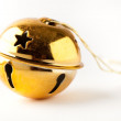 Golden Christmas bauble on white — Stock Photo