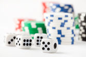 Poker chips and dice — Stockfoto