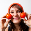 Stock Photo: Young womwith tomato cheeks
