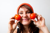 Young woman with tomato cheeks — Stock Photo