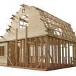 Stock Photo: Skeleton of wooden house