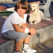 Young boy and dog — Stock Photo