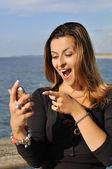 Podnikání žena mluvila na mobilním telefonu — Stock fotografie