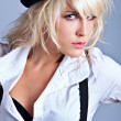 Blond with hat — Stockfoto