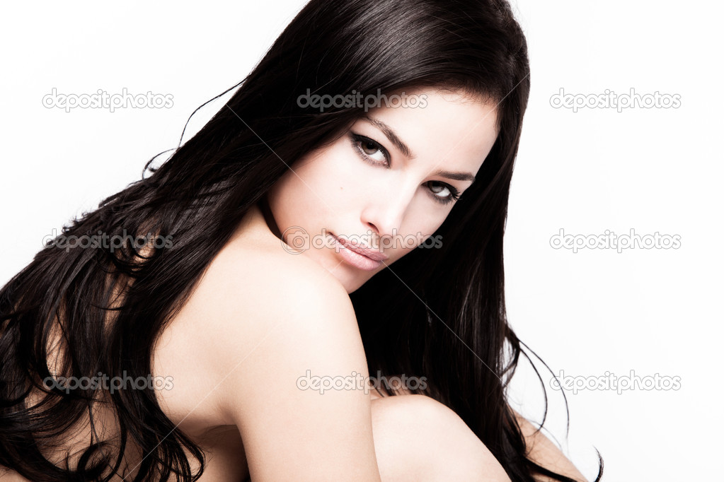 Young black hair woman beauty portrait , studio shot — Stock Photo #4999726