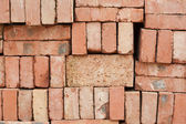 Nicely stacked pile of red bricks — 图库照片