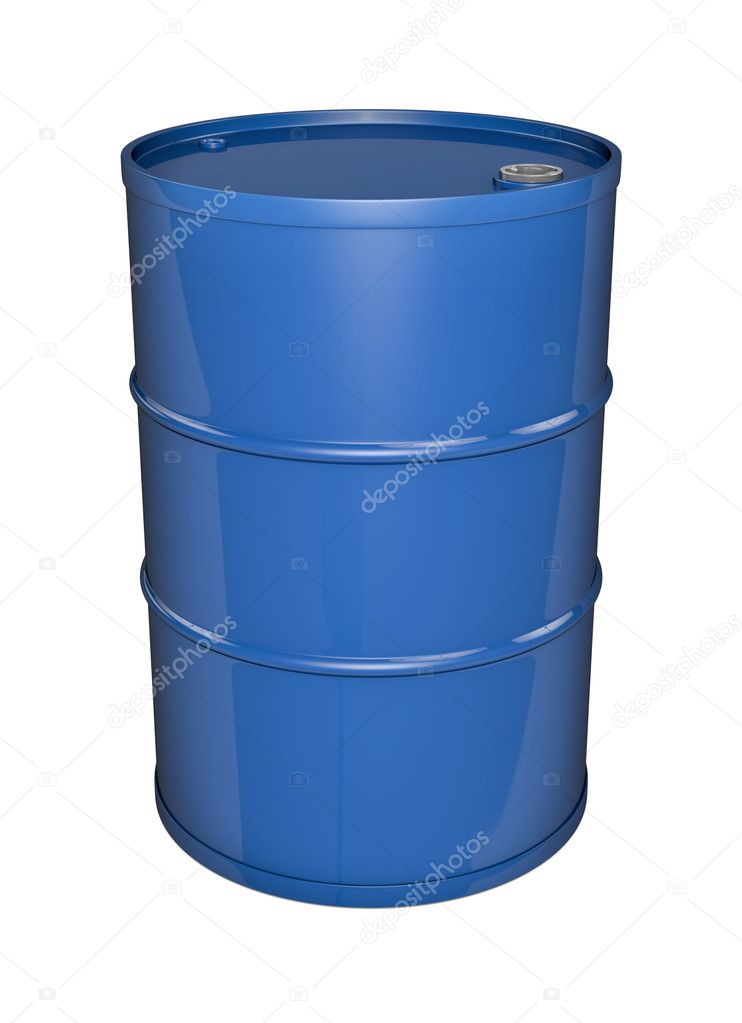Blue oil barrel. 3D rendered image.  Stock Photo #4786431