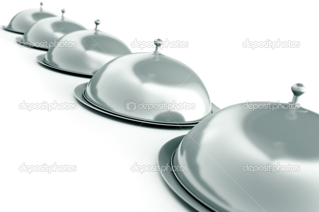 Row of silver trays. 3D render. — Stock Photo #4969087
