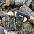 Timber Worker Lumberjack Axe - Stock Photo