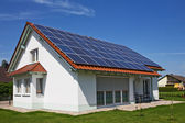 Solar Panels on the House Roof — Stock Photo
