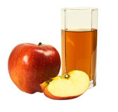 Glass of juice and apple — Stock Photo