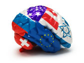 Flags on Human brain — Stock Photo