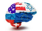 Flags on Human brain — Stock fotografie