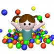 Girl in ball pool — Stock Photo