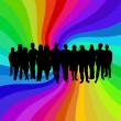 Rainbow crowd — Stock Photo