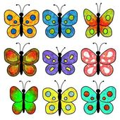 9 butterflies — Stock Photo