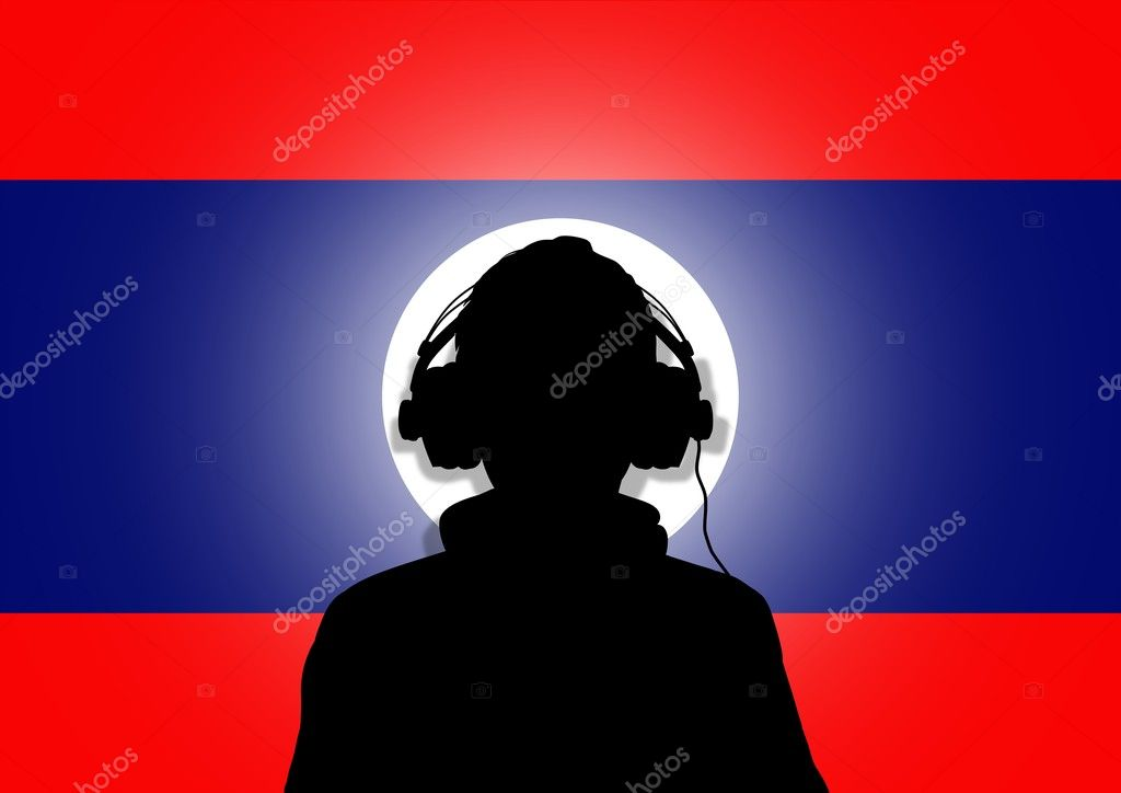 Illustration of a person wearing headphones in-front of the flag of Laos — Stock Photo #5302890