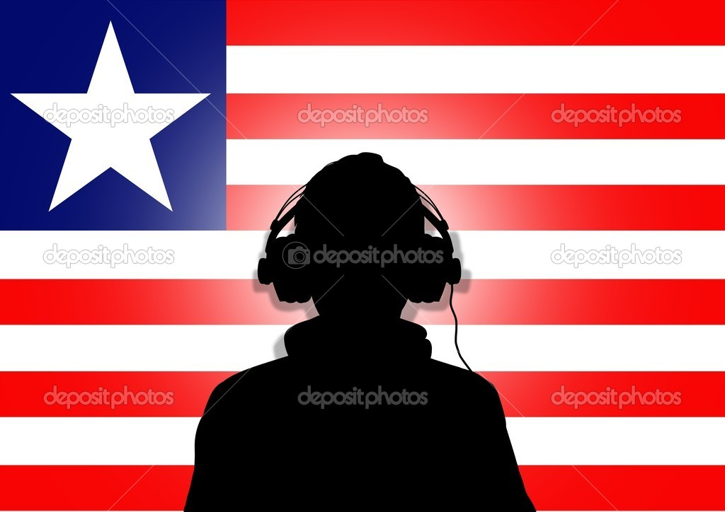 Illustration of a person wearing headphones in-front of the flag of Liberia — Stock Photo #5302893