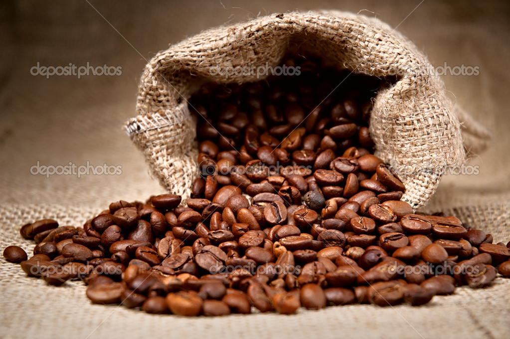 Studio Shot of Coffee Beans in a Bag  Stock Photo #4732166