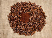 Ground Coffee and Roasted Coffee Beans — Stock Photo