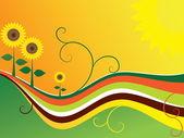 Sunflower waves — Stock Vector