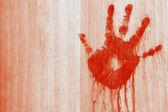 Bloedige handafdruk — Stockfoto