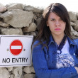 Stock Photo: Cute NO ENTRY Girl